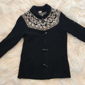 J CREW BLACK LAMBS WOOL TOGGLE CARDIGAN